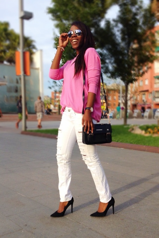 pink sweater_jersey rosa_ jeans rotos_ripped jeans_ Adribohocloset12