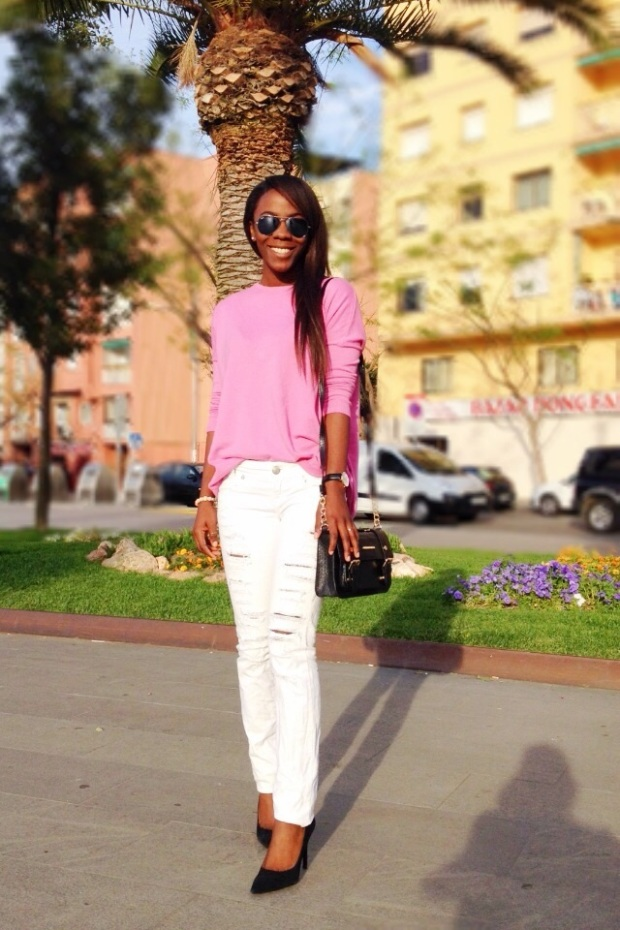 pink sweater_jersey rosa_ jeans rotos_ripped jeans_ Adribohocloset7